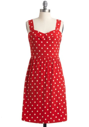 Abito a pois Berry Much Modcloth