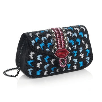 Clutch Ottaviani con cristalli, perline e strass. Con tracolla in metallo brunito