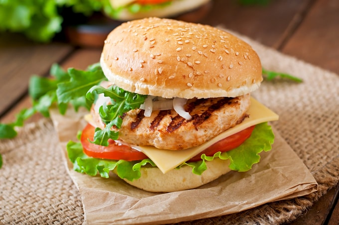 hamburger di pollo